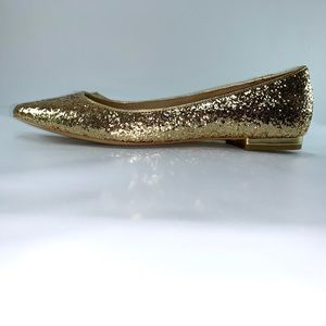 Gold glitter pointed toe flats. Size 7